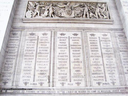 Generals' names engraved on Arc de Triomphe