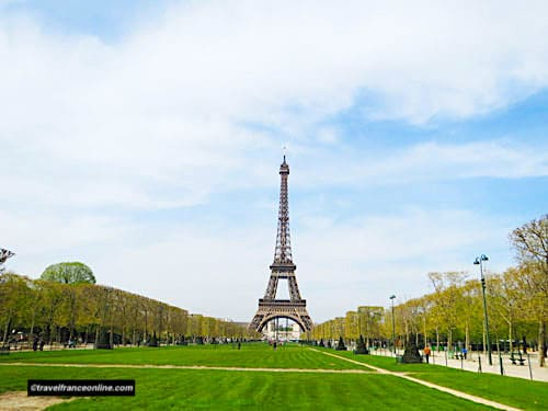 Eiffel Tower and Champ de Mars seen from the Ecole Militaire