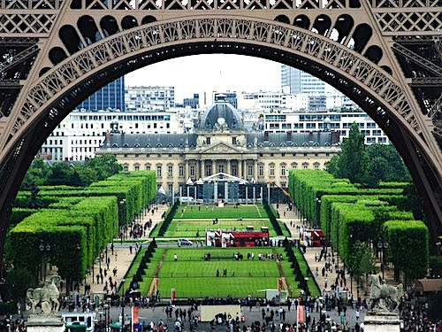 Champ de Mars and Ecole Militaire seen through the Eiffel Tower legs