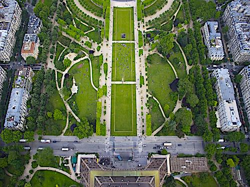 Champ de Mars seen from the top of the Eiffel Tower