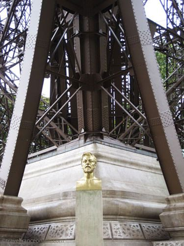 Bust of Gustave Eiffel at the foot of the Eiffel Tower