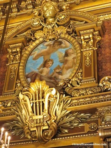 Opera Garnier - Gilded lyre and medallion in Salon d'Honneur