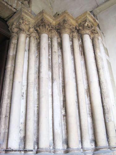 Saint Germain des Pres Church - Original Romanesque columns in the porch