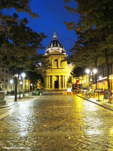 Sorbonne University and square at night