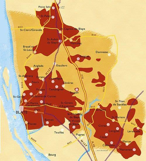 Blaye-Bourg wines - Map AOC Cotes de Bourg - Cotes de Blaye