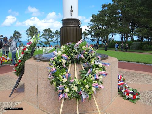 Colleville-sur-mer American Cemetery - D-Day 75th Anniversary wreath laid by President Trump