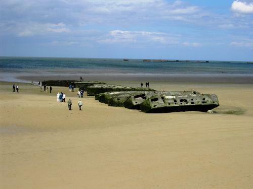 Gold Beach - Vestiges of the Mulberry harbour in Arromanches