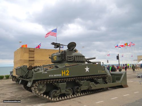Gold Beach - US tank display in Arromanches during D-Day 75th Anniversary