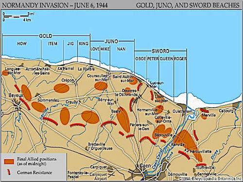 Map of Sword Beach landing sectors