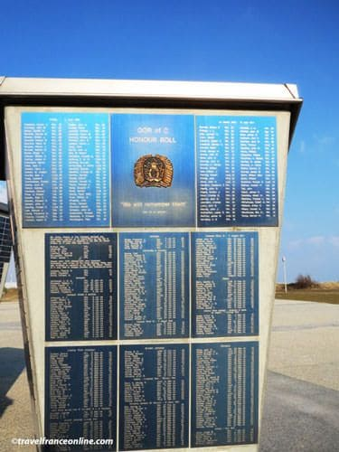 Columns with names of the Fallen Soldiers by the Juno Beach Center