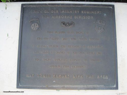 Memorial plate - 325th Inf. Regiment - La Fiere Memorial Park