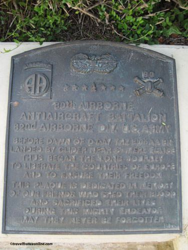 Memorial Plaque for the 144 paratroopers of the 505th Parachute Inf. Div. killed in action - La Fiere Memorial Park