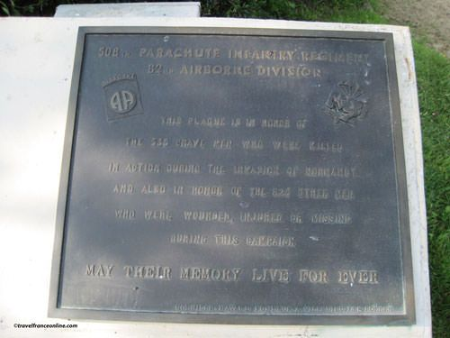Memorial Plaque for the 336 paratroopers of the 508th Parachute Infantry Regiment 82nd Airborne Division killed in action