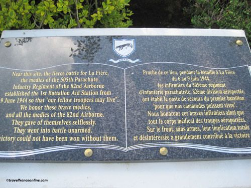 Memorial Plaque for the Medics of the 505th Parachute Inf. Regiment 82nd Airborne Div. - La Fiere Memorial Park