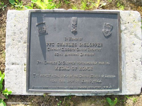 Memorial Plaque for PFC Charles DeGlopper of the 325th Glider Inf. Regiment - - La Fiere Memorial Park