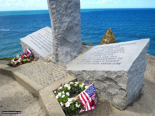 Pointe du Hoc - 2nd Rangers Battalion Memorial - wreaths on D-Day 75th anniversary commemorations
