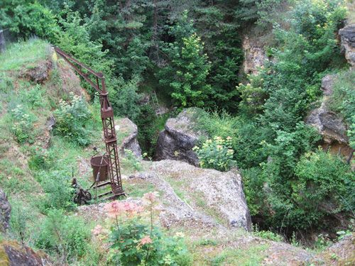 The site excavated by Mr Constant with the now rusty steel crane he used at Le Regourdou