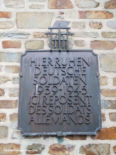 Dedication plate to the German soldiers buried in Marigny German Cemetery