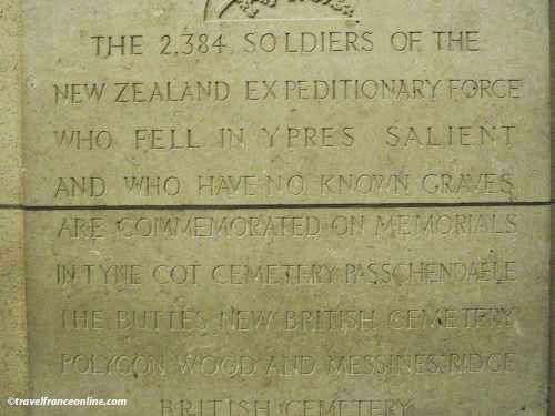 Menin Gate Memorial - Dedication to the New-Zealand troops who have their own memorial in Tyne Cote Cemetery