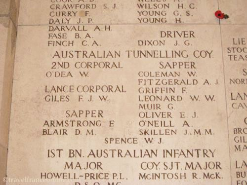 Menin Gate Memorial - Names of some of the Missing from the Australian Tunnelling Company involved in Hill 60