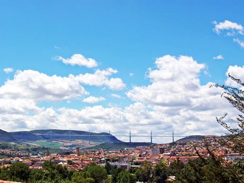 Millau viaduct and city