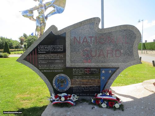 National Guard Peregory Monument in Grandcamp-Maisy - wreaths laid on June 6, 2019 - 75th anniversay of D-Day