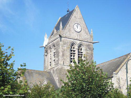 Sainte Mere Eglise - Paratrooper dummy on church steeple