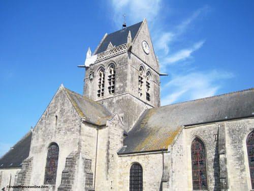 Sainte Mere Eglise - John Steele dummy on the church steeple