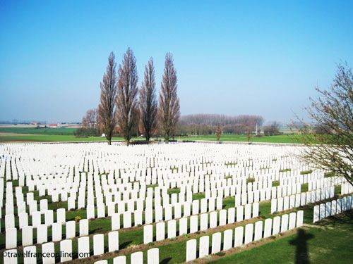 Tyne Cot Cemetery on Passchendaele Ridge - German pillbox kept in its original state and surrounded by 4 poplars