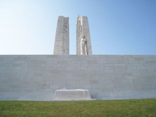Vimy Ridge Canadian National Memorial - Mother Canada and the sarcophagus below her at the level of the battlefield
