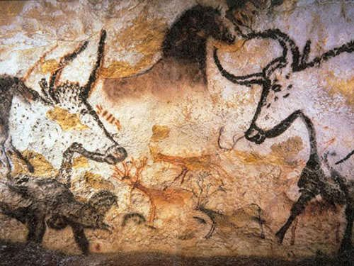 Bison and horses in Lascaux Cave