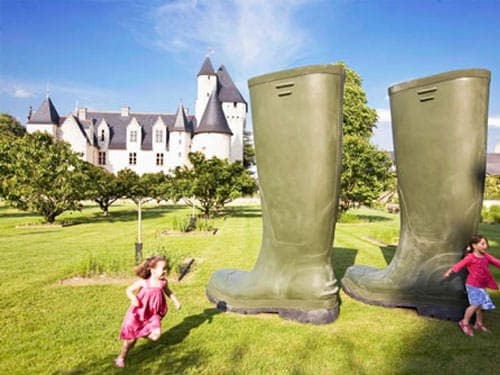 Giant boots in the gardens of the Chateau du Rivau
