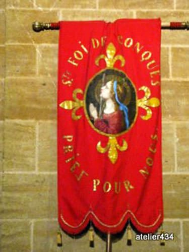 Sainte Foy Feast Day banner in Conques