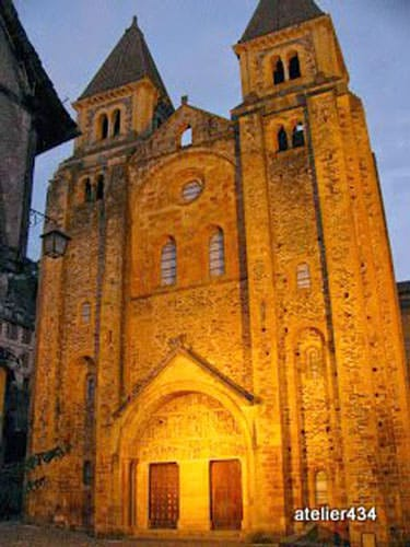 Abbey church of Conques at dusk on Sainte Foy Feast Day