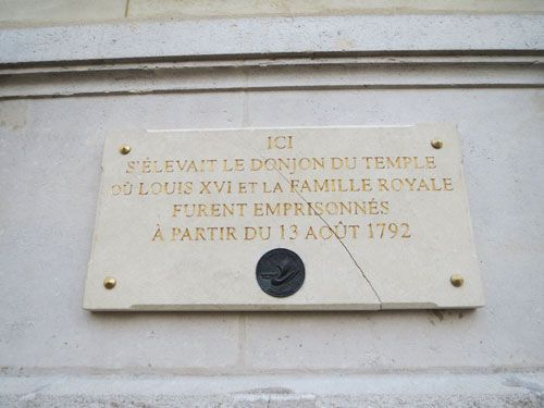 Quartier du Temple - Donjon commemorative slate