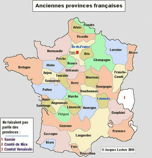 Territorial organization in France - Former provinces