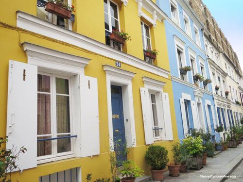 Colorful houses in Rue Cremieux