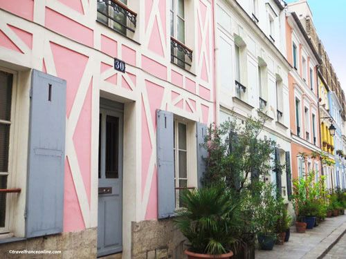 Colorful houses in Rue Cremieux - A cat at no28