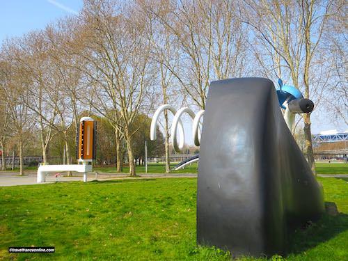 Buried Bicycle - Bicyclette Ensevelie saddle and handlebar - in Parc de La Villette - Paris