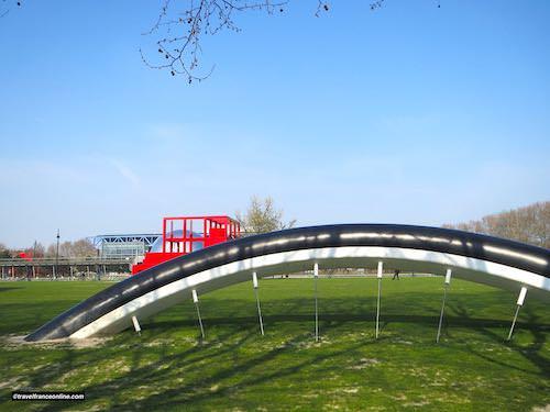 Buried Bicycle - Bicyclette Ensevelie wheel in Parc de la Villette