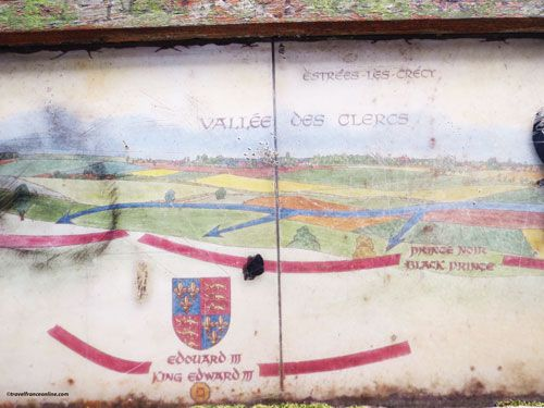 Map of the Battle of Crecy en Ponthieu - Red = English - Blue = French