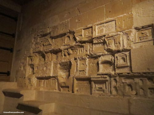 Carved wall in the former jail of the Castle of the Dukes of Brittany in Nantes