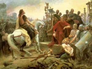 Vercingetorix surrenders to Caesar in Alesia