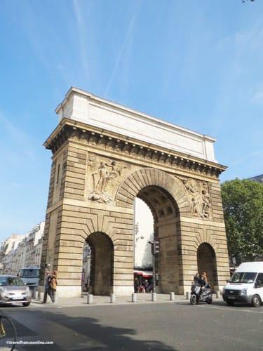 Porte Saint-Martin - South facade and rue Saint-Martin