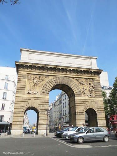 Porte Saint-Martin South facade and Rue Saint-Martin