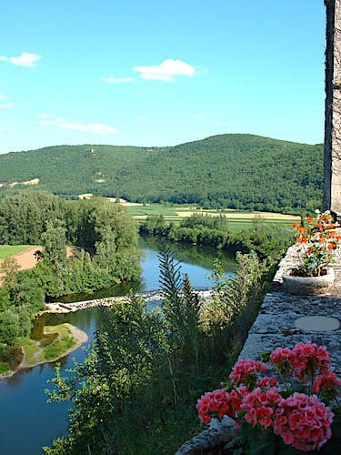 Chateau de Cenevieres - View of the Lot Valley from the terrace