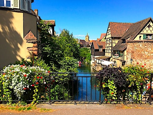 La Petite Venise district in Colmar - A bridge spanning the Lauch