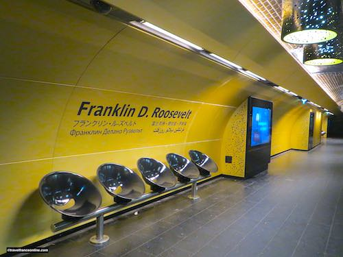 Franklin D. Roosevelt Metro station - Yellow and Black colour scheme and touch-screen