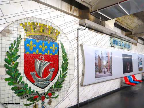 Hotel-de-Ville Metro station - Coat-of-arms of the City of Paris