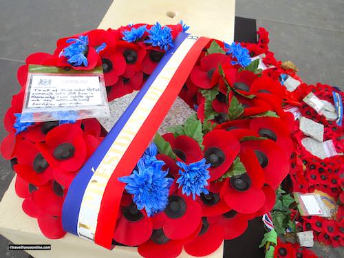 Inauguration British Normandy Memorial -wreath laid by Theresa May and Emmanuel Macron on 6June 2019